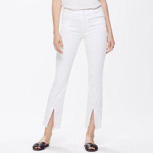27 Mother The Insider Slit Ankle Fray White Jeans